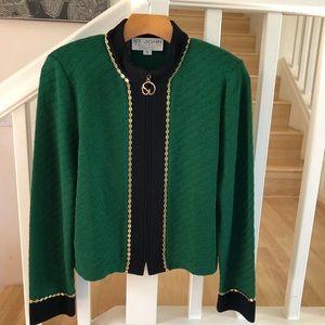 St. John green navy sweater jacket gold details